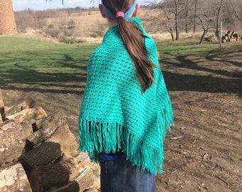 Tidal Green Crochet Triangle Shawl