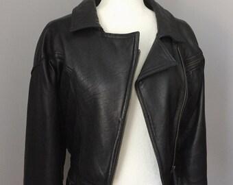 Vintage Cropped Moto Leather Jacket