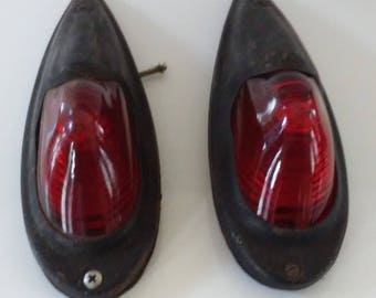 Pair of Vintage Car or Truck Red Glass Lens