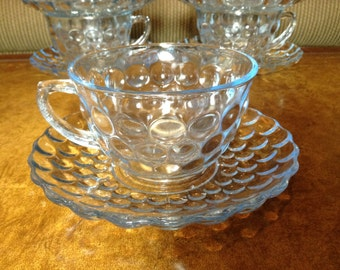 Anchor Hocking Bubble Blue Cup and Saucer Set of 5