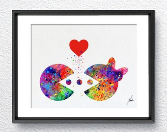 Pac-Man Atari Video Game inspired, Watercolor Art, Print, Poster Giclee, Wall Decor, Art Home Decor, Wall Hanging, Item 330