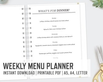 Weekly Menu Planner / A5 A4 Letter / Printable Editable Family Dinner Plans Meal Planner Food Household Organizer Binder / INSTANT Download