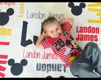 Personalized Mickey Mouse Blanket. Mouse Name Blanket. Monogram Minnie Mouse Blanket. Mickey Mouse Blanket.