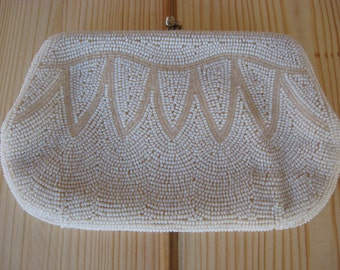 Vintage White Beaded Purse Made In Japan