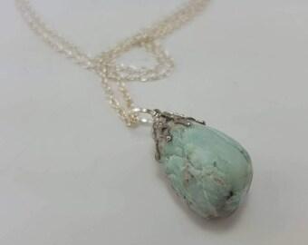 Stone of hope - mint green gemstone necklace - pale green stone pendant - amazonite stone jewelry - throat Chakra stone - good luck stone