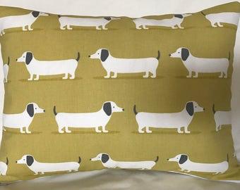 Sausage Dog Cushion Cover, Dachshund, Cushion, Handmade Cushion, Homemade Cushion, Decorative Pillow, Lime Green