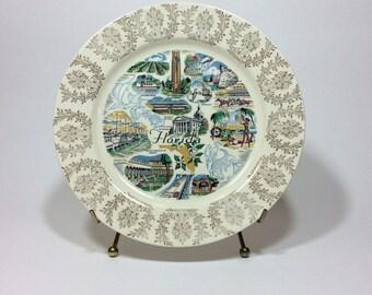 Vintage Florida Souvenir Plate Homer Laughlin Decorative State Plate
