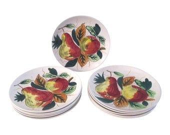 1950s Hand-Painted Fruit Design Plates, S/11