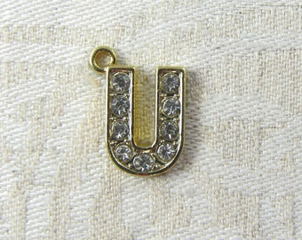 "Gold Rhinestone Letter ""U"" Charm, 1 or 5 letters per package ALF022u-GL"