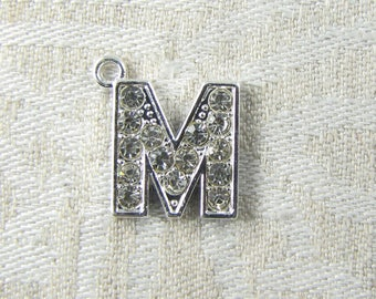 "Platinum Rhinestone Letter ""M"" Charm, 1 or 5 letters per package ALF022m-PL"