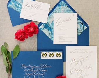 Custom Calligraphy Wedding Invitation Suite Design (Flat, Foil, Letterpress Printing Available)