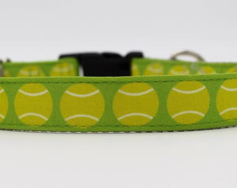 Tennis Star Dog Collar, Go Fetch Dog Collar, Tennis Ball Dog Collar, Wimbledon Dog Collar,
