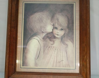 "Vintage Margaret Kane big eye girl little boy picture ""A Little Kiss"""