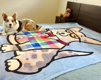 """Corgi Blanket - Corgeek -  50"""" x 60"""" or 60"""" x 80"""" - Pembroke and Cardigan Corgi Blanket"""