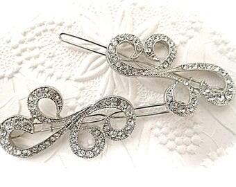 Vintage Rhinestone Hair Barrettes Hair Clips Bridal  Accessories VA-222
