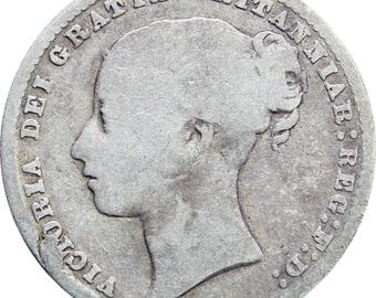 1877 Shilling Victoria Queen Great Britain Silver Coin British