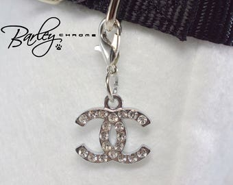 "Rhinestone Double ""C"" Pet Collar Charm - Crystal"