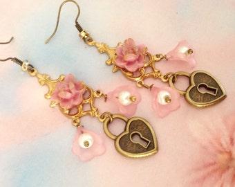 Flower and heart padlock earrings