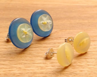 Button earring set, blue and yellow studs, unique button jewellery, gift ideas for Mum, Spring jewellery, vintage buttons, two pairs, ooak