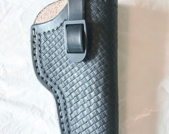 Hand tooled semi-automatic leather holster(Made in Montana)adjustable strap, custom designs