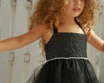 Black Tutu dress, Black Sparkly Brocade Top
