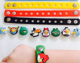 9 Angry Bird Shoe Jibbitz with Adjustable Wristband Charms for Children