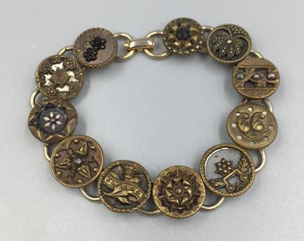 Antique Victorian Brass Button Bracelet - Vintage Buttons, Brass, Cut Steel, Flowers Stars, Floral Motif, Upcycle Button Jewelry