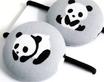 Panda hair bobbles, panda hair accessories, panda fabric, panda bows, monochrome, black & white, panda gifts