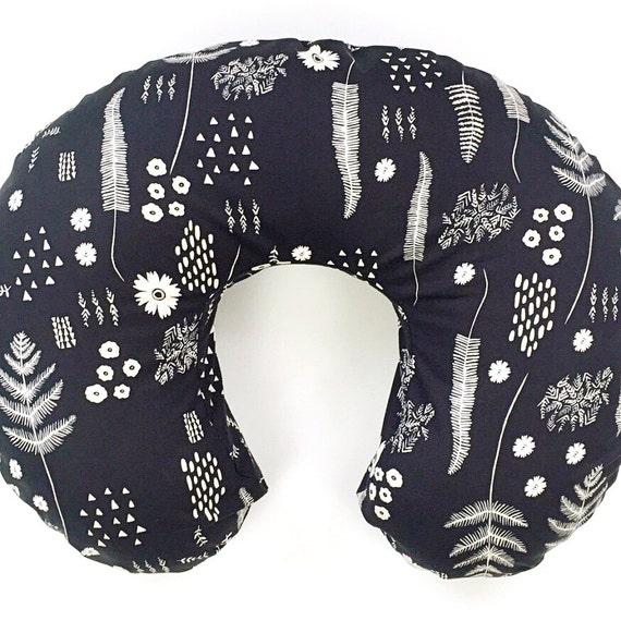 Boppy Cover >> Black and White Fern Book in Black >> READY-to-SHIP nursing pillow, floral black and white graphic boppy, modern flower boppy