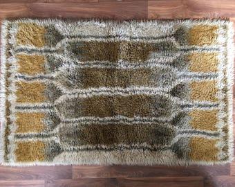 Original vintage Ryamatta from Sweden circa 1970's funky design Ega Rya wool