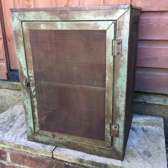 Vintage antique metal meatsafe storage cabinet for all your provisions..