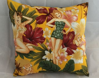 Retro  pinup girls & hibiscus flower cushion cover