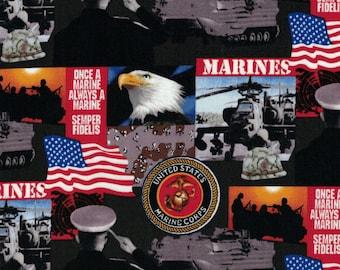 Military Fabric - Marine Corps - Sykel Enterprises Fabrics- 100% Cotton Fabric