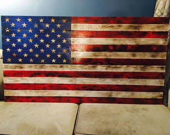 Hand made American Flag with Carved out Stars *FREE SHIPPING*