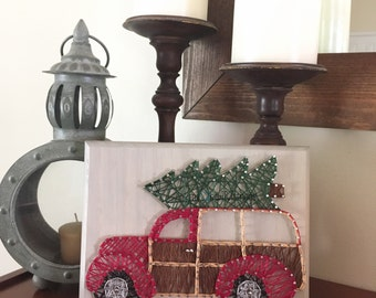 String art Christmas woody wagon
