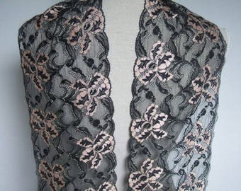 """3.5 yards Black/pink/gold  french lace trim (N105)/ 7"""" wide stretch trim by the yard"""