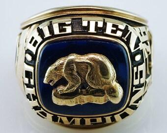 University of Michigan 1976 Rose Bowl Yellow Gold Championship Ring