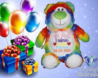 Rainbow Bear personalised toy, personalised gift, New born gift, Birthday Gift, Christmas Gift, Personalised Teddy