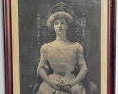 MUST GO Antique Framed Photograph Portrait of a Young Woman