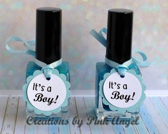 Set of 12 It's a Boy Nail Polish Tags, Its a Boy Favor Tags, Its a Boy Blue Tags, It's a Boy Baby Shower Favor Tags