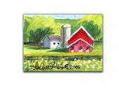 Spring Red Stable Barn Farm Artwork by llmartin Original ACEO Acrylic  White Barn