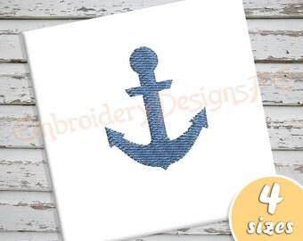 Anchor Mini Embroidery Design - 4 Sizes - Filled Stitch Machine Embroidery Design File