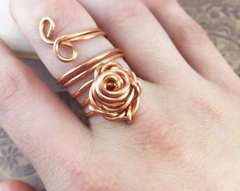 Rose Ring, Copper Rose Ring, Wire Wrapped Ring, Copper Wire Ring, Copper Ring, Wire Copper Ring, Wire Ring, Wire Wrapped Jewelry, Wire Rings