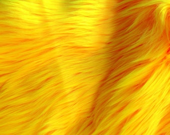 """Luxury Long Pile Faux Shaggy Fur Fabric - Sold By The Yard - 60"""", Color  Yellow"""