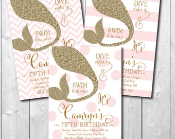 Mermaid Birthday Invitation printable/digital file/ glitter, Under the Sea Invitation, pink and gold, girl swim party/Wording can be changed