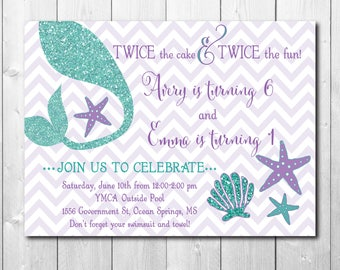 Mermaid Birthday Invitation digital printable/Under the Sea invitation, joint party, teal and purple, glitter tail/wording can be changed