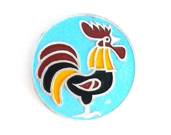 Rooster - Vintage Rare Soviet Pin Badge / Made in USSR,1970s