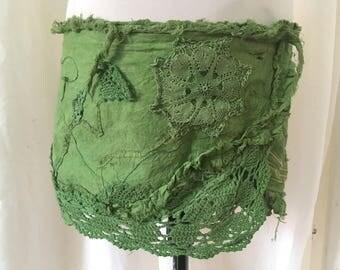 Miracle forest wrap skirt, psy hippie Elf mini skirt, shred rock, forest spirit costume, nymph boho burning man