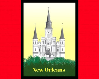 New Orleans Travel Print - Vintage Travel Poster Retro Wall Decor Travel New Orleans Print   bp Reproductiont