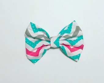 Chevron teal and pink bow  - headband- bow headband for infants, toddlers, and adults- jersey knit knot headband